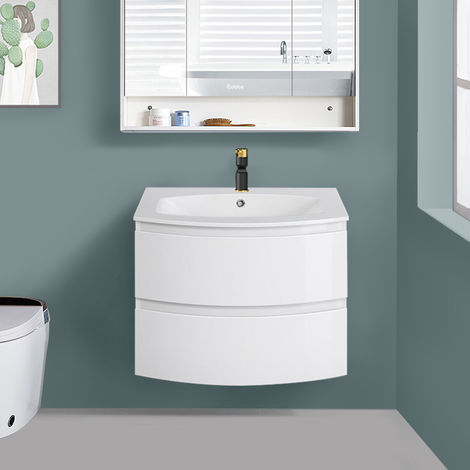 700mm Gloss White Curved Vanity Unit with Basin Bathroom Drawer Furniture