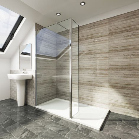 700mm Walk in Shower Screen Tougheded Safety Wet Room with 300mm Flipper Panel