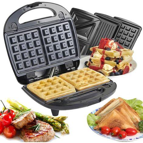 700W Appareil 3 en 1 croque-monsieur/Gauffre, Grille-pain 3 plaque Machine à sandwich multifonctions en acier inoxydable