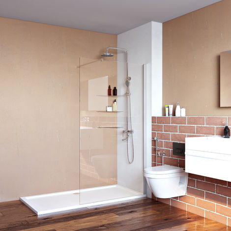 700x1850mm Walk in Shower Enclosure, Wet Room Screen Panel 6mm Tougheded Safety Glass with Support Bar