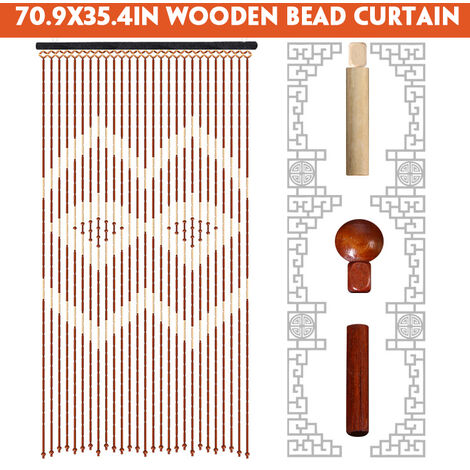 70.9X35.4in 27 Line Vintage Fashion Curtain Wooden Beads Curtains Blinds Fly Screen Home Decor