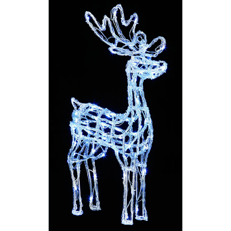 70cm Acrylic Standing Reindeer with 90 White LED's