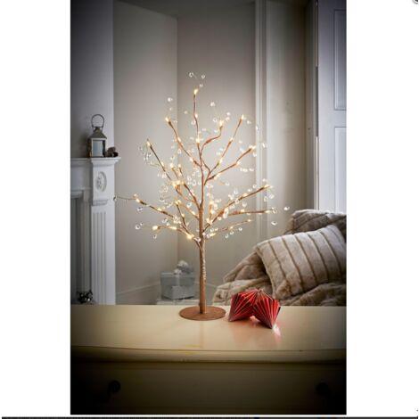 70cm Pre-Lit Jewelled Glitter Twig Tree Christmas Decorations