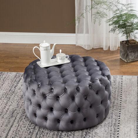 70CM Round Velvet Buttoned Footstool, Grey