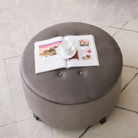 70CM Round Velvet Storage Footstool, Grey
