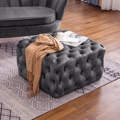 70CM Square Velvet Buttoned Footstool