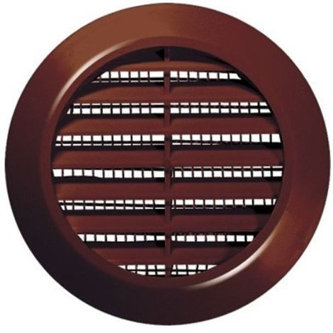 70mm Diameter Hole Brown Round Door Air Vent Grille Woodwork Furniture