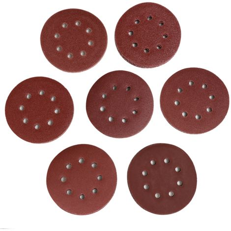 70x Klett-Schleifpapier Durchmesser 125 mm rund je10 x 40/60/80/100/120/180/240, Exzenter-Schleifer 8 Loch
