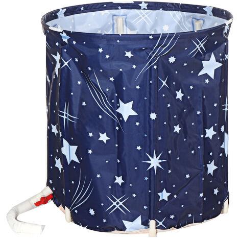 70x65cm Adult Bathing Bucket Folding PVC Bucket Thickening single layer Blue
