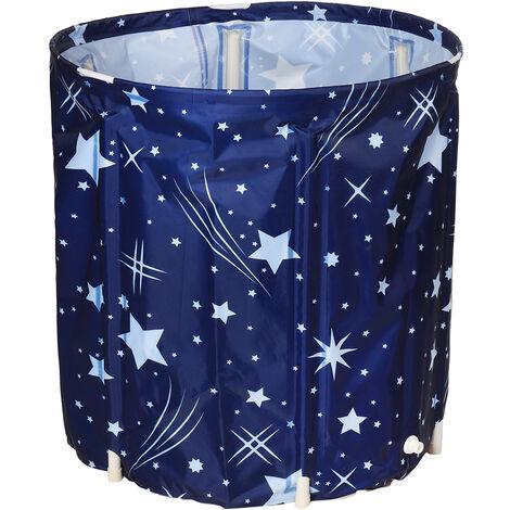70x65cm Bathing Bucket Folding Whole Body Household Bathtub PVC Bucket Foldable 70x65cm Blue