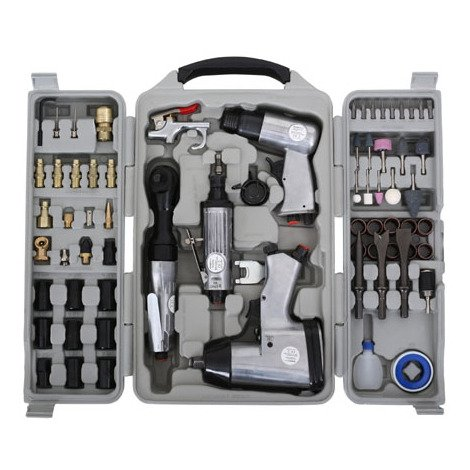 "71-pcs Air Tool Set, Pneumatic Impact Wrench, Schrewdriver (1/4"" Air Connection, Quick-coupling, Extensive Accessories, 311 Nm Torque max., Case)"