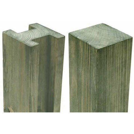 "7'11"" x 3.7"" Reeded Slotted Pressure Treated Fence Post"