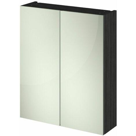 715 x 600 Bathroom Mirror Cabinet Wall Mount Black Storage Cupboard Double Door