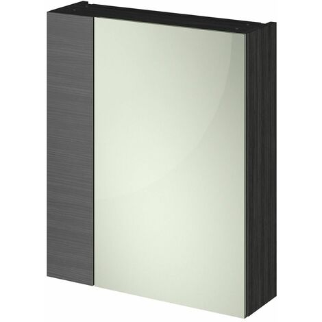 715 x 600 Bathroom Mirror Cabinet Wall Mount Black Storage Cupboard Single Door