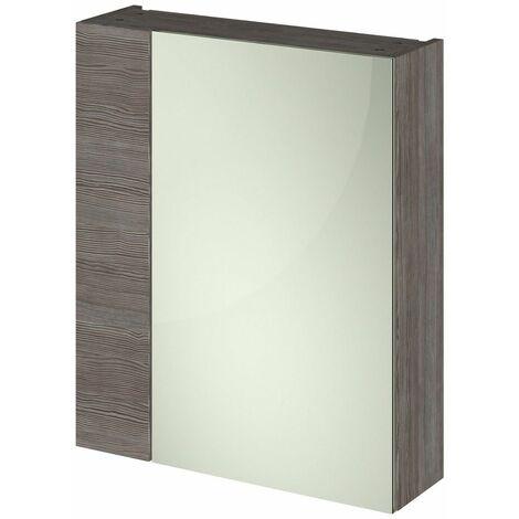 715 x 600mm Bathroom Mirror Cabinet Wall Mounted Brown Grey Storage Single Door