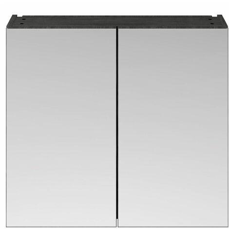 715 x 800 Bathroom Mirror Cabinet Wall Mount Black Storage Cupboard Double Door