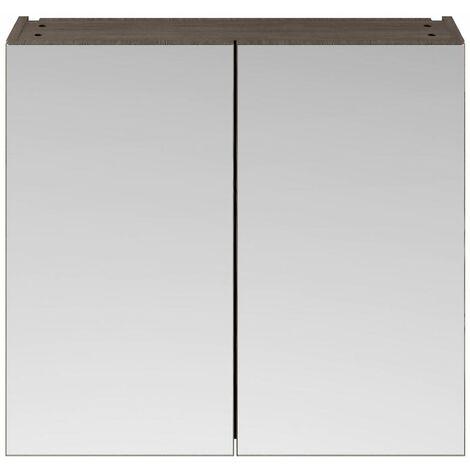 715 x 800mm Bathroom Mirror Cabinet Wall Mounted Brown Grey Storage Double Door