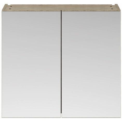 715 x 800mm Bathroom Mirror Cabinet Wall Mounted Driftwood Storage Double Door