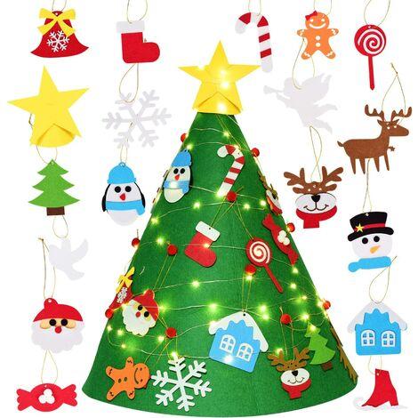 """main image of """"71cm Sapin de Noël en Feutre, DIY Feutre Arbre de Noël Sapin de Noël Décoration avec 18 Pièces Ornements détachables Cadeaux de Noël pour Noël pour Les Enfants Noël Décoration"""""""