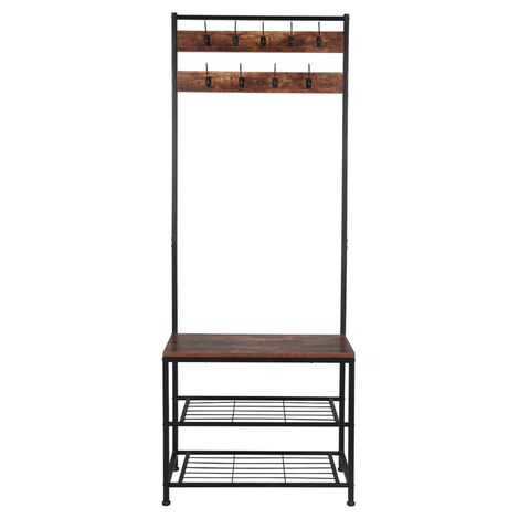 """main image of """"71inch Coat Rack Stand, Indsutrial Bench with Shelves, Free Standing Hall Tree with Hooks (Rustic Brown)"""""""