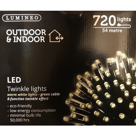 720 Kaemingk LED Twinkle Fairy Lights - Indoor or Outdoor - Warm White - 54m