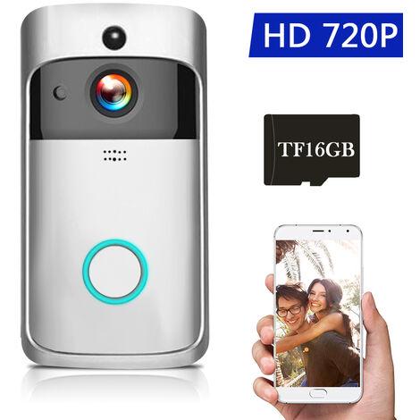 720P Faible Puissance Wifi Sonnette Intelligente Integree 16G Memoire Argent Carte