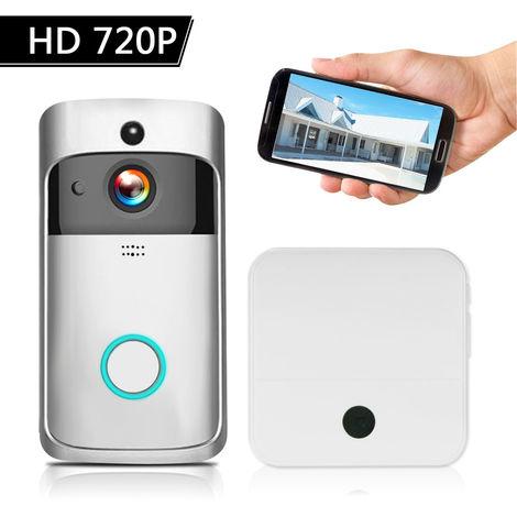 720P HD inalambrico de intercomunicacion video del telefono video de la puerta, con Baterias y Timbre, Plata