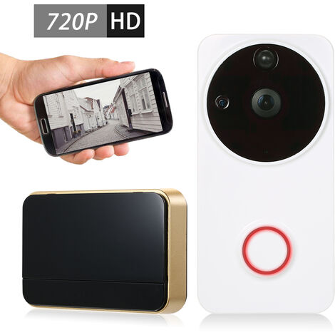 720P Wifi Sonnette Interphone Machine A L'Interieur Buzz Six Infrarouge Lumiere Blanche
