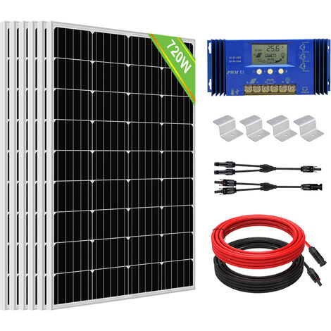 720Watt 24V solar panel Complete kit 18V PV Solar Panel 20A controller for Home
