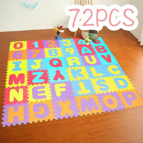 72PS Tapis Mousse Bébé   Dalles 32 x 32 cm avec Certification CE & TÜV   Tapis pour Enfants   Tapis de Puzzle (Lettres + Chiffres)