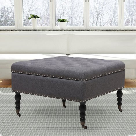 74CM Linen Square Storage Footstool With 4 Casters, Grey