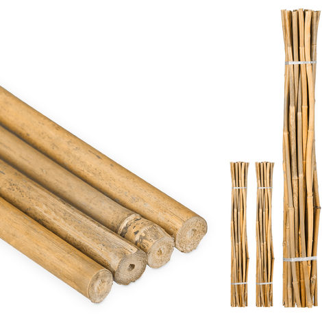 75 Varas de Bambú, Tutores para Plantas, Bambú Natural, 120 cm