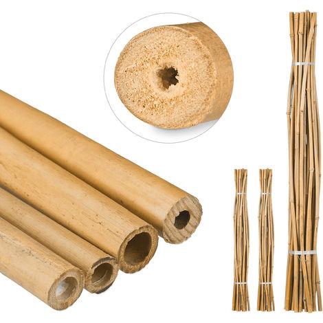 75 Varas de Bambú, Tutores para Plantas, Bambú Natural, 150 cm
