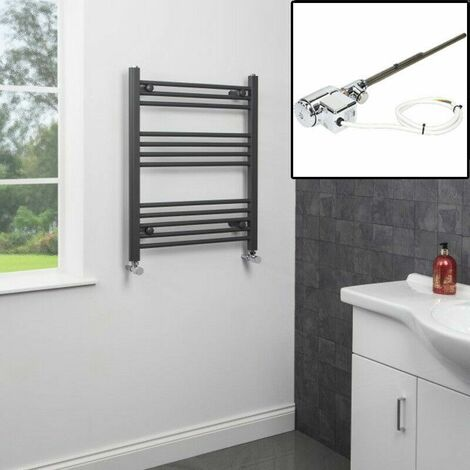750 x 600mm Heated Towel Rail Dual Fuel Anthracite Thermostatic Flat 12 Rails