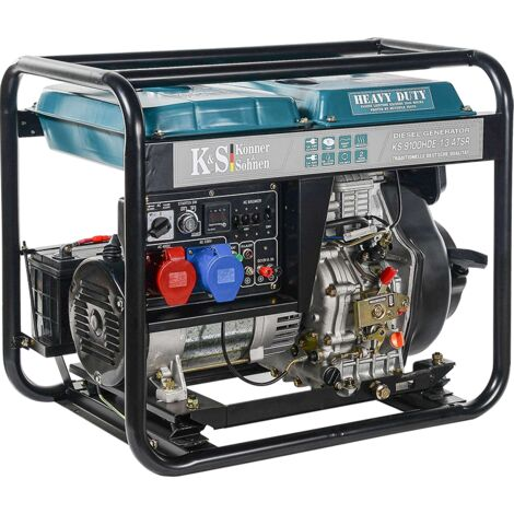 7500 Watt DIESEL E-Start Stromerzeuger, 1x32A (230V), 1X16A (400V), 12V, Spannung 230/400V, Automatischer Voltregler (AVR), Anzeige (Volt, Hz, Arbeitszeit), KS 9100HDE-1/3 ATSR , Generator, Anschluss der Notsrtomautomatik möglich (ATSR), 100% Kupfer
