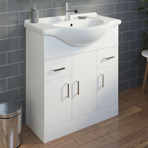 750mm Bathroom Vanity Unit & Basin Gloss White Modern Tap + Waste