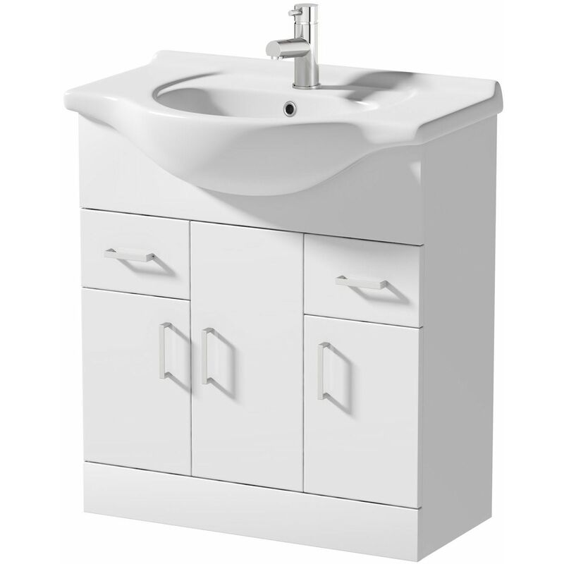 Waste 750mm Bathroom Vanity Unit /& Basin Sink Gloss White Floorstanding Tap