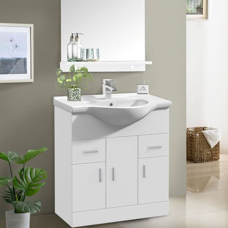 750mm White Basin Vanity Unit Sink Cabinet Bathroom Storage Furniture