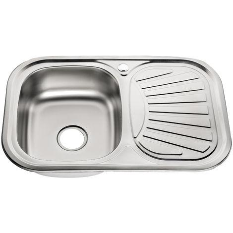 75cm unité évier de cuisine en acier inoxydable avec évier gauche étagère évier en acier inoxydable