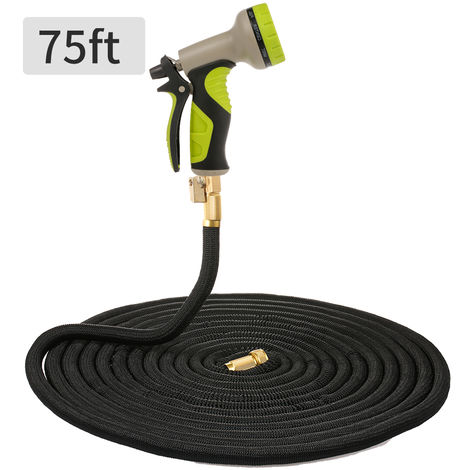 """75ft Garden Hose Lightweight Expandable Water Hose With 9 Patterns Sprayer 3/4"""" Solid Brass Fittings Flexible No-link Watering Hose"""