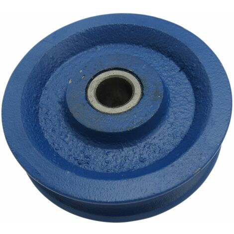 """main image of """"75MM Blue Painted Cast Iron Sheave With Bush - 8MM Wire Rope Spare Replacement"""""""