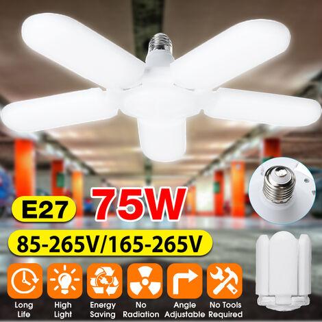 75W 140 6500K Luces LED de garaje Servicios de tienda Aspas de ventilador ajustables Lámpara LED de luz diurna de techo deformable Iluminación LED de garaje 85-265V (blanco frío, 85V a 265V)