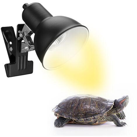 75W Reptile Chaleur Lampe Tortoise Chaleur Lampe Chauffe-Lampe Basking Reglable Avec Clip Pour Reptiles Lizard Tortue Aquarium Ampoule Incluse