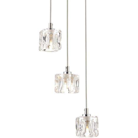 76-034 Modern 3 Light Ice Cube Spiral Cluster Ceiling Pendant Light