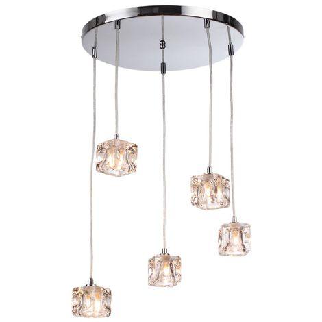 76-035 Modern 5 Light Ice Cube Spiral Cluster Ceiling Pendant Light