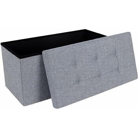 76 cm Sitzbank Sitztruhe Aufbewahrungsbox Sitzhocker belastbar bis 300 kg leinen Hellgrau LSF47G