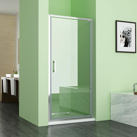 760 mm Pivot Shower Enclosure Door 6mm Easy Clean Glass Shower Cubicle - No Tray