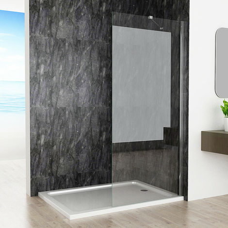 760 x 1830 mm MIQU Easy Clean Glass 6mm Screen Panel Frameless Walk in Shower Enclosure Wetroom - No Tray
