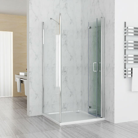 760 x 700 mm MIQU Shower Enclosure DBP Cubicle Door with 760 mm Side Panel 6mm Easy Clean NANO Glass Bifold Door - No Tray