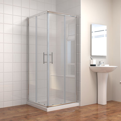 760 x 760 mm Square Sliding Corner Entry Shower Enclosure Door Cubicle with Stone Tray